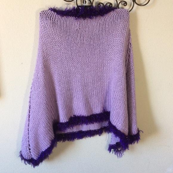 Grandmother GiGi's Handmade Crochet Purple Poncho